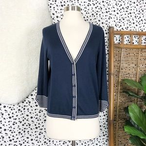 Kate Spade | Silk Navy Striped Bow Sleeve Cardigan